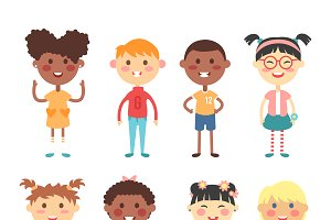 Group of school kids vector