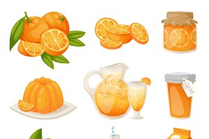 Ripe oranges fruits vector set