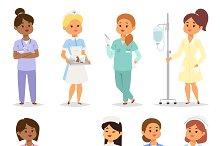 Medical team of doctors vector set