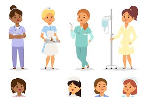 Medical team of doctors vector set