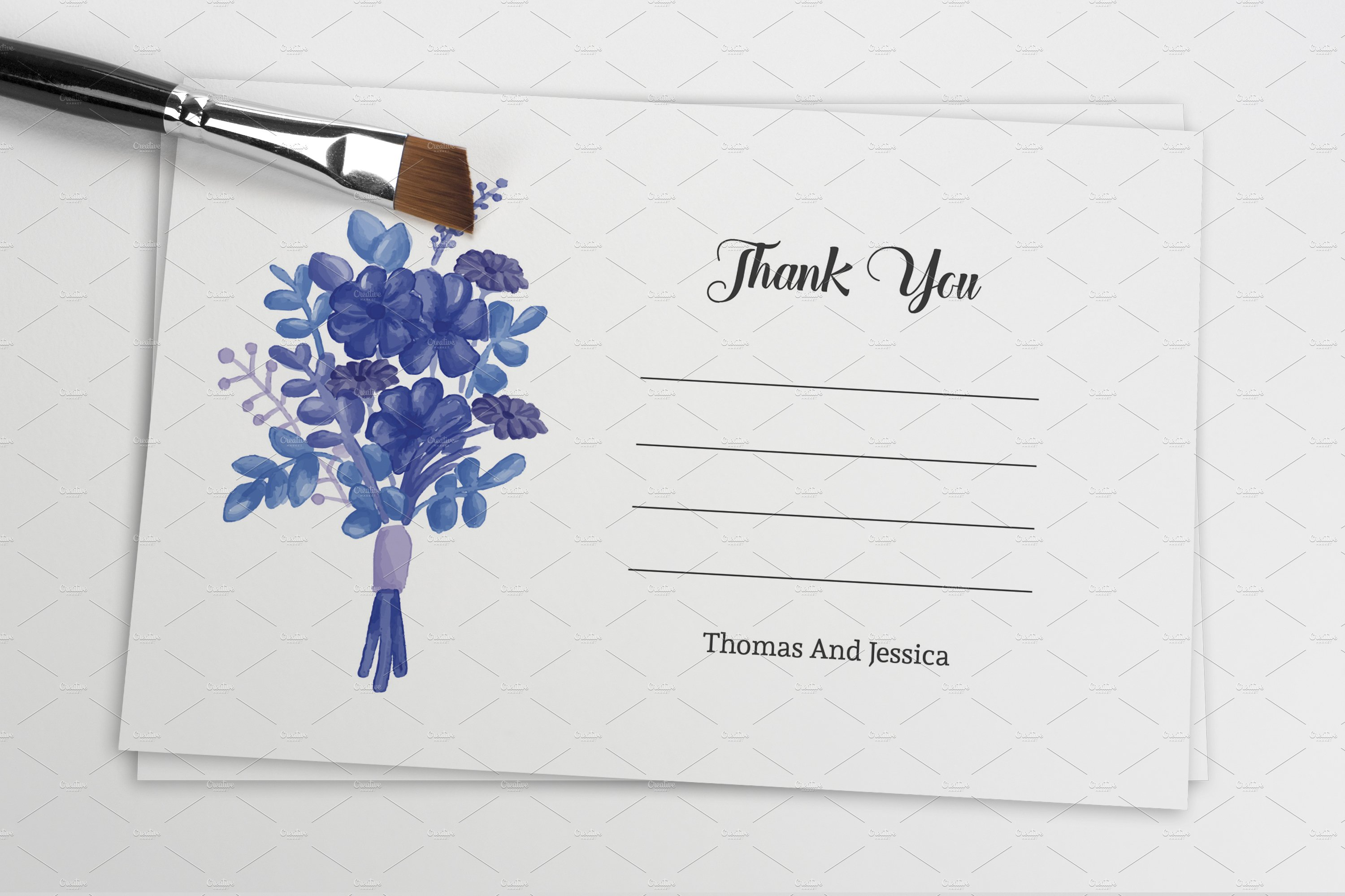 wedding thank you card template card templates creative market