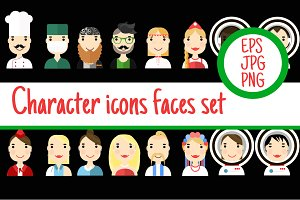 4 Icon set people faces