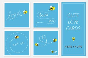 Flying bee. Dash line word Love card