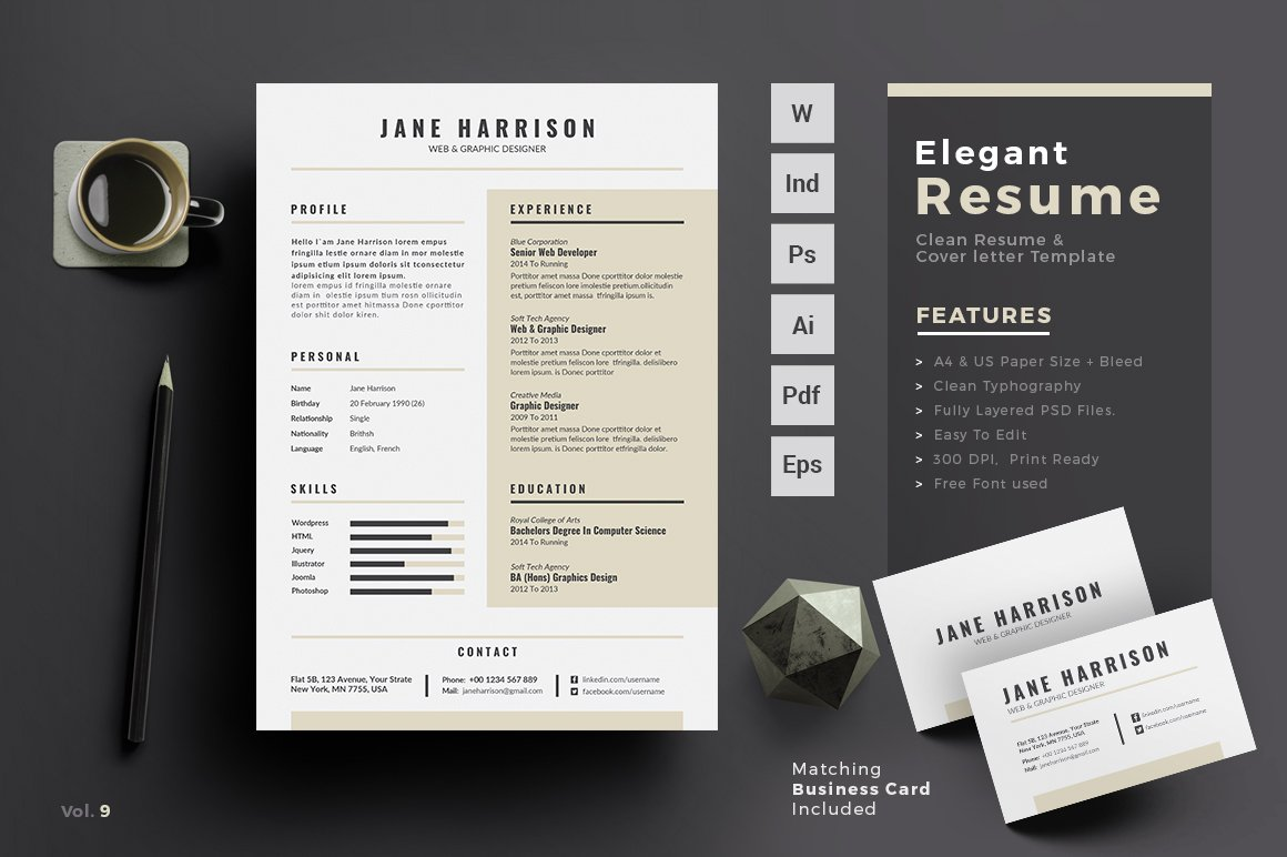 resume design template resume cv resume templates creative market 24337 | screenshot 1