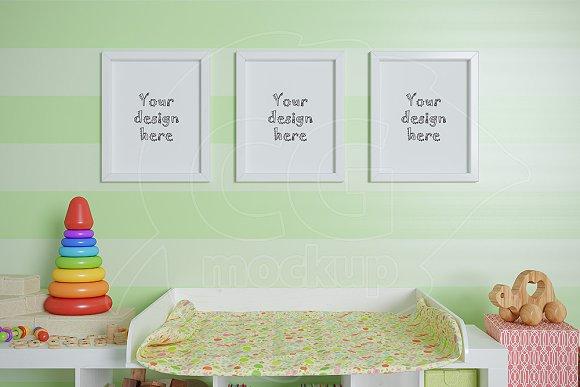 Nursery frames set mockup 8x10\