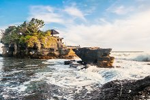 Outdoors sea view near Tanah Lot temple, Bali. Indonesia nature landscape in sunny daylight