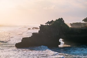 Tender sea view sunset near Tanah Lot temple, Bali. Indonesia nature landscape at dusk