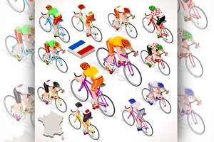 Cyclist Tour de France Isometric