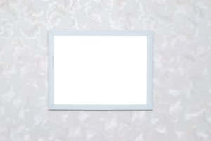 Empty blank white photo frame