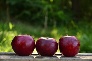 Three apples on nature background