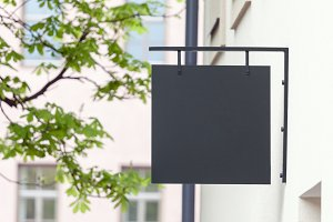 Black empty signage mockup