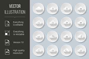 Set of paper style cloud icons
