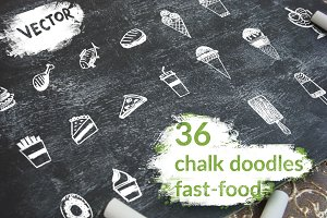 36 hand-drawn fast food elements.