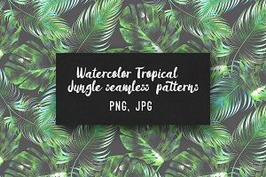 Watercolor tropical jungle patterns