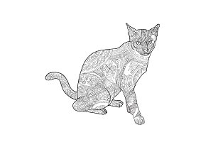 Line art of cat for coloring