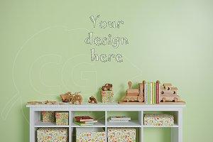 Blank wall kids room mockup