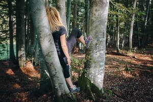 Young woman posing in forest