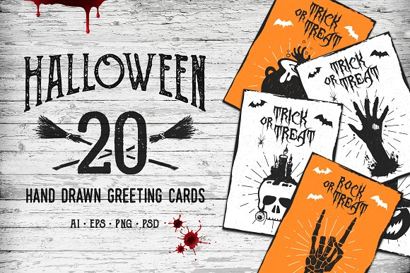 Halloween. 20 Greeting Cards - Illustrations
