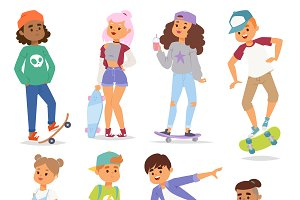 Skateboard characters set vector