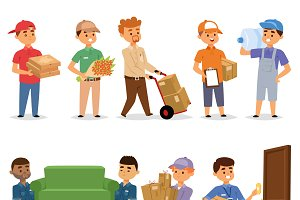 Delivery man portrait vector set