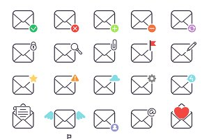 Envelope mail icons vector
