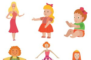 Cute dolls game design vector