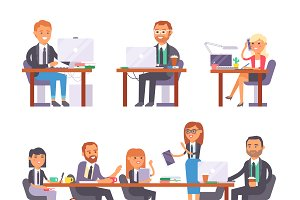 People working in busy office vector