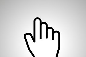 Cursor in hand shape icon