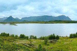 Lofoten summer panorama (Norway).