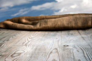 Wooden table with background and tex