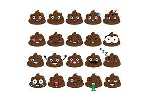 Poop emoji. Turd emoticons set