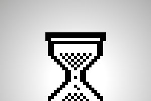 Pixelated cursor in hourglass shape