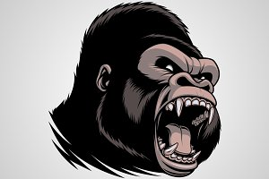 The fierce gorilla head