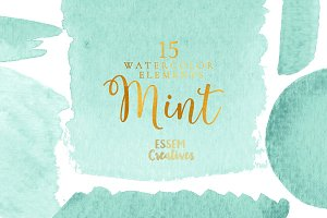 BUNDLE Mint Watercolor Splash