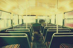 Vintage London double decker bus int