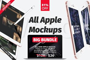 All apple mockups Big Bundle 81% OFF