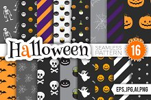 Halloween Seamless Pattern Set.