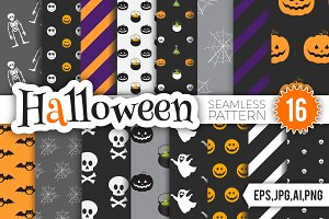Halloween Seamless Pattern Set.