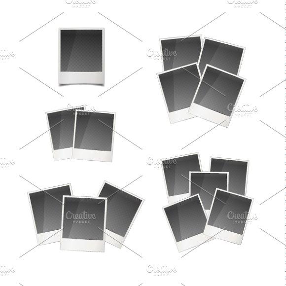 Retro instant photo cards on white