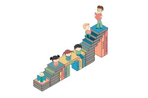 Children reading on stairs of books