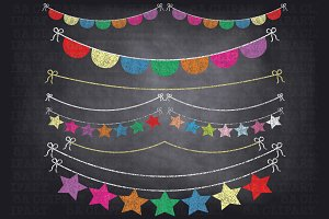 Chalkboard Bunting Banner Clipart