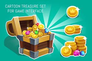 Cartoon treasure for game interface