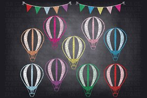 Chalkboard Hot Air Balloon Clip Art