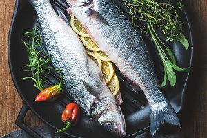 Raw uncooked seabass fish