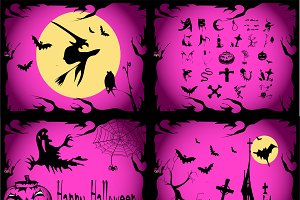 Halloween backgrounds pink color