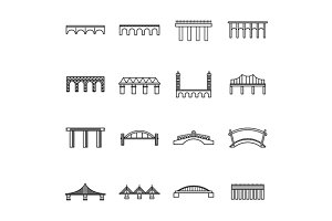 Bridge set icons, thin line style