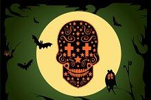 Happy Halloween skull icon vector