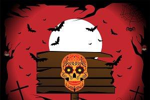 Happy Halloween with skull icons