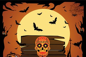 Happy Halloween with skull icon