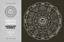Zodiac circle. Astrology symbols.